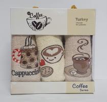 Набор кухонных махровых полотенец 3шт Coffe Series-1