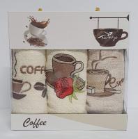 Набор кухонных махровых полотенец 3шт Coffe Series-2
