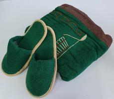 Набор для сауны с тапочками мужской зеленый