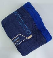 Набор для сауны с тапочками мужской темно-синий