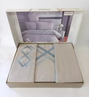 Постельное белье Altinbasak сатин вышивка 200x220 Aspen Bej