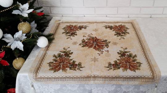 Скатерть новогодняя квадратная гобеленовая Sagol 80х80 ST-161 Sari