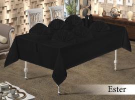 Скатерть Set Maison Royale 160x350+12 psc Ester Siyah