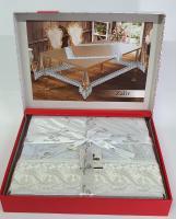 Силиконовая скатерть с кружевом Maison Royale 160х300 Zaliv Krem