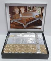 Силиконовая скатерть с кружевом Maison Royale 160х300 Zaliv Cappucino