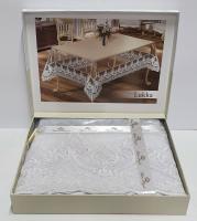 Силиконовая скатерть с кружевом Maison Royale 160х350 Lukka White