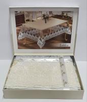 Силиконовая скатерть с кружевом Maison Royale 160х350 Lukka Cream