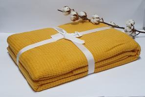 Плед вафельный Casual 200x220см желтый