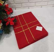 Скатертина новорічна 130х180 артикул DA-222 червона