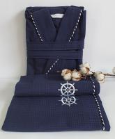 Халат набір чоловічий Maison D'or Marine Navy L (Синій)