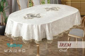Скатерть велюр Sagol 160x260 ovale IREM Cappucino