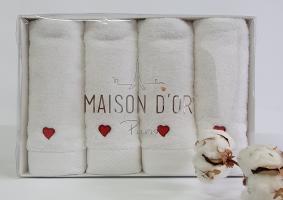 Рушники Maison D'or 4шт Micro Love Set White - Red
