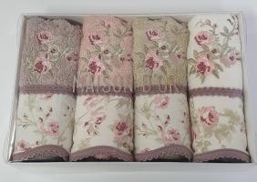 Полотенца Maison D'or 4шт Lady Roses 30x50 Ecru-Rose-Beige-Dark Lilac