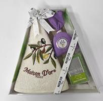 """Подарочное кухонное полотенце+мило саше Maison D'or """"Olive"""" Cream"""