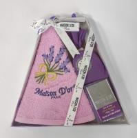 Подарочное кухонное полотенце с мылом саше Maison D'or Lavanda Pink