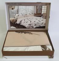 Постельное белье Maison D'or сатин с вышивкой 200х220 Plumes Beige
