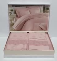 Постільна білизна Maison D'or Roesia Estee сатин з мереживом 200х220 Rose