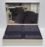 Постельное белье Maison D'or R J.Simone сатин с кружевом 200х220 Antracite