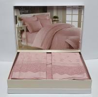 Постельное белье Maison D'or R J.Simone сатин с кружевом 200х220 Rose