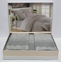 Постельное белье Maison D'or R J.Simone сатин с кружевом 200х220 Grey