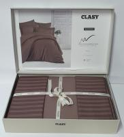 Постельное белье CLASY страйп-сатин семейный Koyu Kahve