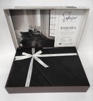 Постельное белье Saheser Jacquard Vip Satin 200X220 Samara Siyah/black
