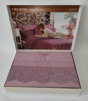 Постельное белье Maison D'or сатин с кружевом семейный Helena Dark Lilac