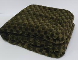 Покривало велюр шахматы 150х200 Темно-зеленое