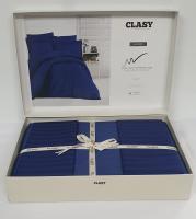 Постельное белье CLASY страйп-сатин 200x220 см Lacivert