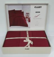 Постельное белье CLASY страйп-сатин 200x220 см Bordo