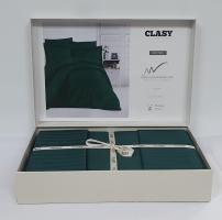 Постельное белье CLASY страйп-сатин 200x220 см Yesil