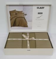 Постельное белье CLASY страйп-сатин 200x220 см Zeytin Yesili