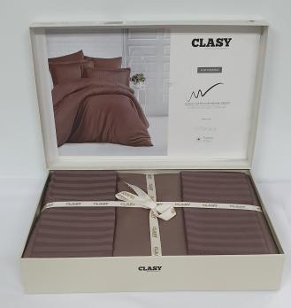 Постельное белье CLASY страйп-сатин 200x220 см Kahverengi
