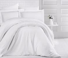 Постельное белье CLASY страйп-сатин 200x220 см Beyaz