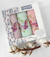Набор махровых полотенец 3шт mercan 01 бабочки