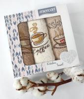 Набор махровых полотенец 3шт mercan 03 кофе