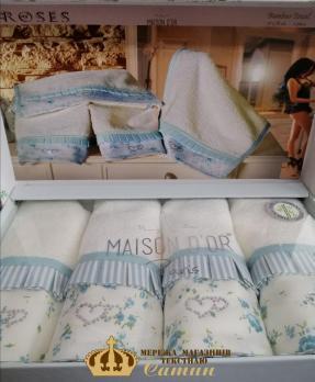 Полотенца Maison D'or 4шт Roses 30x50 Turquoise-Ecru