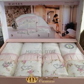 Полотенца Maison D'or 4шт Roses 30x50 Rose Color-Ecru