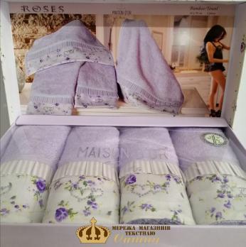 Полотенца Maison D'or 4шт Roses 30x50 Lila-Ecru