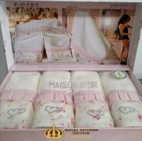 Полотенца Maison D'or 4шт Roses 30x50 Pink-Ecru
