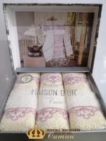 Полотенца Maison D'or 3шт Vanessa Set 30x50 Ecru-Rosa