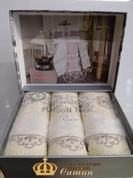 Полотенца Maison D'or 3шт Vanessa Set 30x50 Ecru-Beige