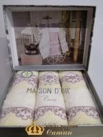 Полотенца Maison D'or 3шт Vanessa Set 30x50 Ecru-Lilac