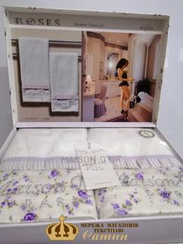 Полотенца Maison D'or 2шт Roses Бамбук 50x100 Ekru-Lila