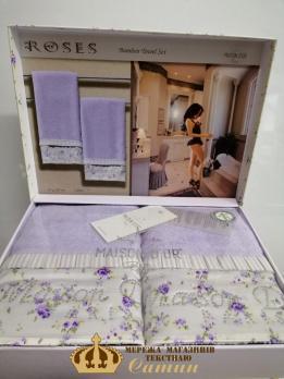 Полотенца Maison D'or 2шт Roses Бамбук 50x100  Lila