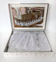 Силиконовая скатерть с кружевом Maison Royale 160х260 ovale Lukka White